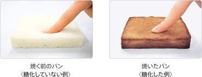 """糖化が起こるのは人の体内だけではなく、食パンを焼くと茶色く焦げ固くなります。また、炊きたてのもっちりふっくらした真っ白いご飯も、炊飯器に保温したまま翌朝になると黄ばんで固くなります。これが糖化現象なのです。パンやお米の中のタンパク質と糖が結びつき、褐色をしている""""AGEs""""が発生し、このような変化が起きるのです。これに似たことが肌でも起きているということになります。"""